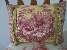 Accent Pillow La Petite Ferme Red & Yellow Gold French Country Rooster Toile