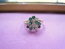 Vintage Beautiful 14K Yellow Gold Cluster Ring Emeralds & Diamonds sz5.25 ladies
