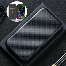 For LG G8S ThinQ Luxury Shockproof Slim Flip Carbon Fiber Wallet Card Case Cover