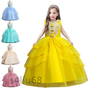 Princess Kids Girls Christmas Pageant Tulle Long Dress Bridesmaid Wedding Party