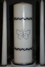 White Rhinestone Butterfly Wedding Unity Candle Plus Tapers Set