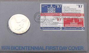 1974 BICENTENNIAL FIRST DAY COVER MEDALLION~REVOLUTION~JOHN ADAMS