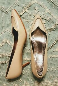 Brooks Brothers Ivory Bone Leather low Heels Point Toe Shoes Womens Size 7 - New
