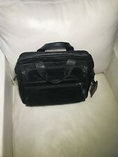 Tumi black leather briefcase