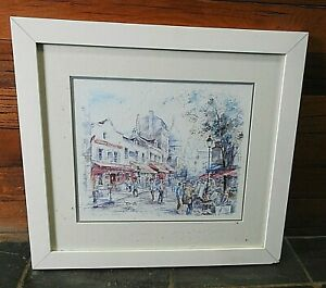 """FRAMED WATER PAINTING """"PARIS PLACE DE TERTRE"""" BY JEGAI 19½ X 21½"""" MOUNTED PRINT"""