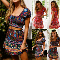 Casual Women Boho Short Sleeve Floral Print Crop Tops Mini Skirt Dress Lady Suit