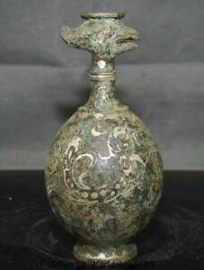 "8.4"" Antique China Bronze Silver Ware Dynasty Birds Bottle Vase drinking vessel"