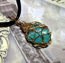 EXQUISITE HAND CRAFTED GOLD WIRE WRAPPED TURQUOISE PENDANT 1-1/4 INCHES