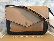 NWT MICHAEL KORS PVC GREENWICH SMALL FLAP CROSSBODY BAG-COLOR POCKET BROWN/ACORN