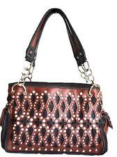 coffee inlay cut out rhinestones fashion western brown shopper handbag womens