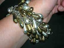 Silver and Gold Dangle Cha Cha Beaded Bracelet - pre owned Premier?
