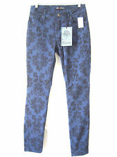 LOVE NATION women 's jeans size 4 slim skinny navy blue floral print NWT $54