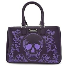 37ab674d4e03 Loungefly Skull Roses Floral Gothic Punk Faux Leather Tote Bag Purse  LFTB0601