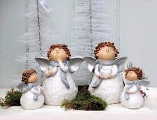 Weihnachts Engel m.Herz versch Designs Größen X Mas Deko Weiß Glitzer H.10+16,5