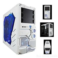 Computer Case Mid Tower PC Gaming Blue Tinted Side Window Front USB 3.0/Audio