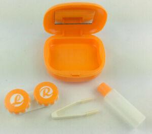 Aufbewahrungs Behälter Reiseset Spiegeletui für Kontaktlinsen orange