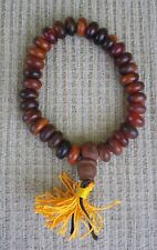 Prayer Bead Bracelet Mala for Dharma Natural Yak Bone w/ Bodhi Seed Guru Bead