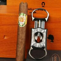 CIGARISM Gun Metal Plating Zinc Alloy Engraving Cigar V-Cut Cutter (Black Skull)