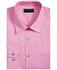 New $97 Alfani 15-15.5 32/33 Men Regular-Fit Pink Long-Sleeve Button Dress Shirt