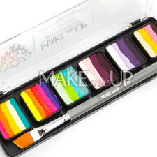 NEW! FacePaint RAINBOW Palette+BRUSH split Face paint water color body onestroke