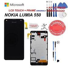 LCD NOKIA LUMIA MICROSOFT 550 DISPLAY TOUCH SCREEN FRAME ORIGINALE NERO NUOVO