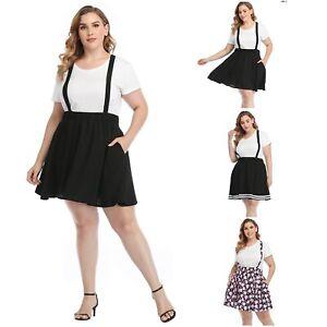 HDE Plus Size Suspender Skirt 1X-4X Elastic Waist Overall Pinafore Skater Skirts