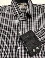 English Laundry Mens Sz 17 34/35 Black Gray Checked Flip Cuffs Casual Shirt Lrg