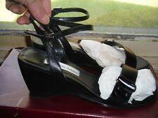 ETIENNE AIGNER - Dressy Ankle Strap Black Leather Open Toe Wedge Heel  -  9M VGC