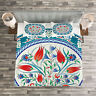 Teal Quilted Bedspread & Pillow Shams Set, Turkish Tulip Floral Art Print