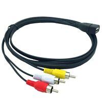 2X(1.5M Usb A Female To 3 Rca Phono Av Cable Lead Pc Tv Aux Audio Video Ada N2V6