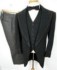 Vtg 1930s 3pc Tuxedo 36 R Button Fly NRA Label ~ WEDDING suit tux steampunk EUC