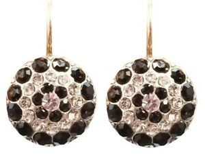 Mariana Crystal Earrings, Round, Black and Clear Crystals (E1141 280-1)