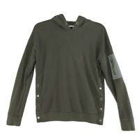 Abercrombie & Fitch Side Snap Hoodie Womens Oversized S Olive Green Sweatshirt *