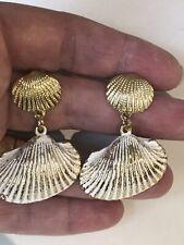 White Ornate Gold Tone Shell Earrings Gold Shell