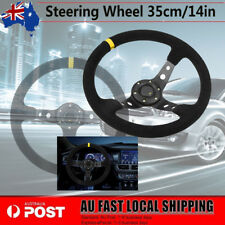 350mm Deep Dish Napped Leather + Aluminum Steering Wheel With Horn Button AU