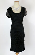 Jovani Size 8 Black Cruise Cocktail Ruch bodice $420 Prom Formal Short sleeve