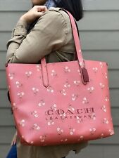 New Coach Floral Print Highline Tote bag Faux leather bright coral silver F55181