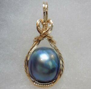 Indonesia ~ Blue ~ MABE PEARL PENDANT ~ Handcrafted ~14kt GF