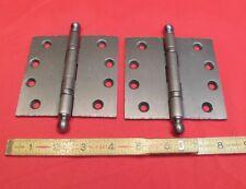 "Baldwin One pair...Distressed Antique Nickel 4"" x 4"" Solid Brass Ball B Hinge"