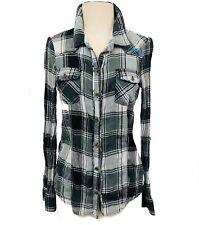 Billabong Women's Black & White Plaid Long Sleeve Button Down Shirt M