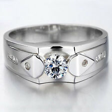 Quality Men 0.5ct Lab Created Diamond .925 Sterling Silver Wedding Ring Size 10