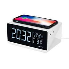 MOMAX Alarm Clock Time Date, Temperature Display with Qi Wireless Charging Pad