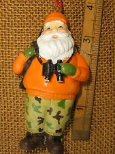 Santa Hunter Orange Jacket Camo Pants Gun & Binoculars Hunting Ornament Nwt