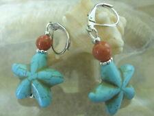 Süße Türkis Howlith Seestern Ohrringe Ohrhänger mit Koralle +Brisuren rhodiniert