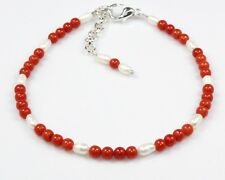 "Genuine Red Coral Pearl Bracelet Jewelry Ct 21.50 7.5""+1 Gemstone Valentine Day"