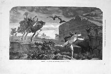 Stampa antica IL MITO DI PENTEO re di Tebe mitologia 1869 Old print