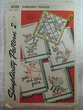 Vintage Simplicity 4049 Embroidery Transfer Pattern Kitchen Motif Tea Towels