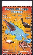 Perú 2006 Rana/Flamingo/Ibis/pupfish/aves/pescados/Ranas/Naturaleza/lago 4 V negro n38378