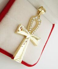 Mens Egyptian Ankh Cross Pendant 10k Yellow Gold Cross Charm Pendant 2 inch