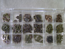 Mixed Bronze Copper & Pewter Pendant Earrings Charms Lot with Bead Box